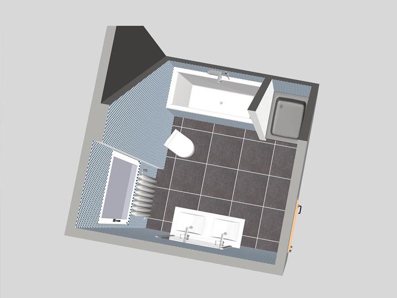 bad 1 mit dachschr ge. Black Bedroom Furniture Sets. Home Design Ideas
